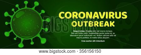 Coronavirus Known As Sars-cov - Vector Realistic Illustration In Green. Web Banner Or Article Pictur