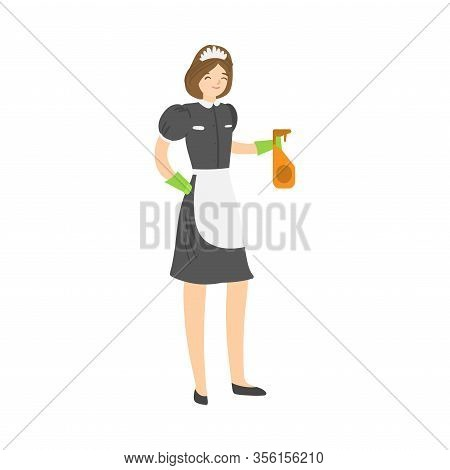 Brown-haired Smiling Housemaid Posing With A Squirting Spray Bottle. Vector Illustration In Flat Car
