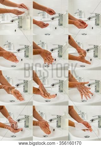 Hand washing washing hands using medical instructions to protect against viruses step by step