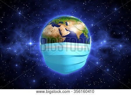 Earth In Medical Mask In Outer Space. 3d Illustration.