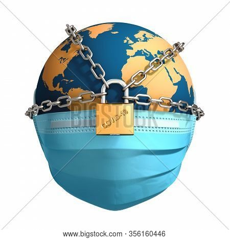 Planet Earth In Chains And Locked On White Background. 3d Illustration.
