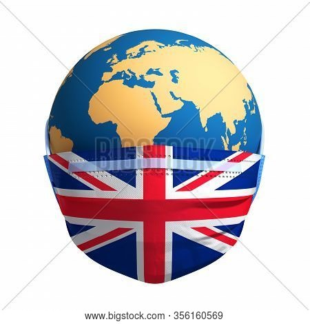 Earth In Medical Mask And Flag Of Great Britain On White Background. 3d Illustration.