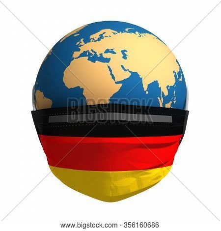 Earth In Medical Mask And Flag Of Germany On White Background. 3d Illustration.