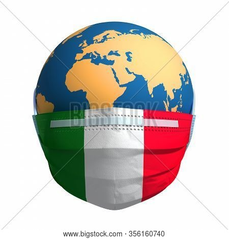 Planet Earth In Medical Mask And Flag Of Italy On White Background. 3d Illustration.