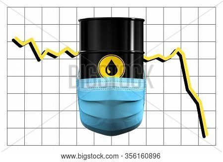 Barrel Of Oil In Medical Mask On Background Of Price Chart. 3d Illustration.
