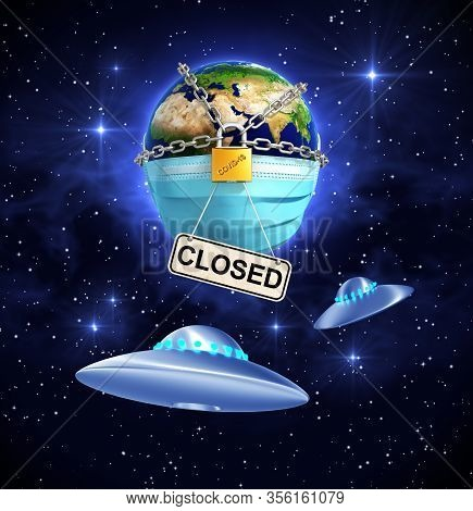 Two Ufos In Front Of The Locked Planet Earth With Nameplate Closed. 3d Illustration.