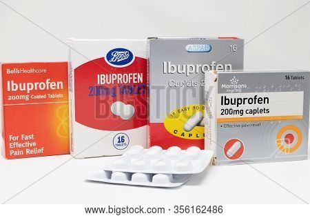 London / Uk - March 17th 2020 - Ibuprofen Anti-inflammatory Medication Boxes And Packs Of Tablets On
