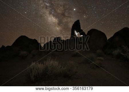 Camping at Night Under the Stars and Milky Way in Alabama Hills