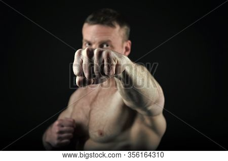 Knockout And Punch, Power. Fist Of Athlitic Man With Muscular Body. Coach Sportsman Fighting Isolate