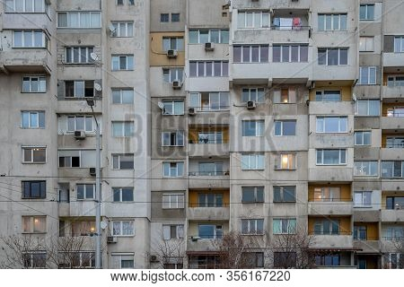 Sofia - February 27, 2020: Prefabricated House In The City On Settlements