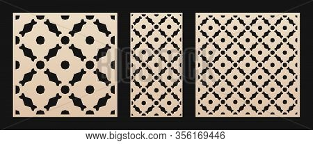 Laser Cut Pattern. Vector Stencil With Abstract Floral Geometric Grid,  Ornament In Arabian Style. D