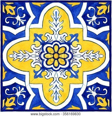 Portuguese Azulejos Tile Bandana Scarf. Traditional Portuguese Mosaic Tile Decoration. Watercolor Bl