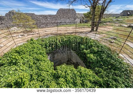 Historic Well Of Norman Castle In Erice Town On A Erice Mountain, Sicily Island In Italy