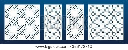 Laser Cut Panels Collection. Vector Template With Abstract Geometric Pattern, Lines, Checkered Grid.