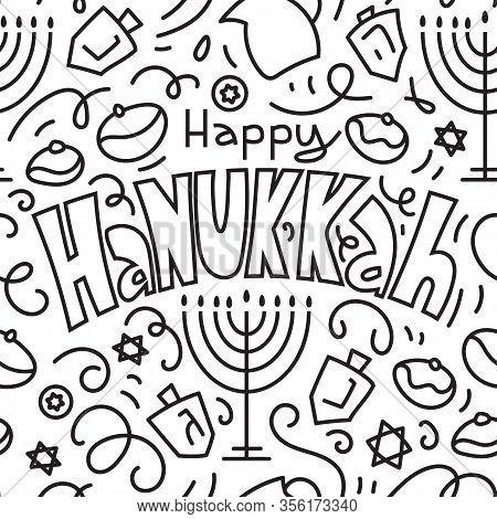 Happy Hanukkah Seamless Pattern Background. Holiday Symbols Menorah Candlestick , Candles, Donuts, D