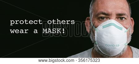 Old Man Wearing An Anti Virus Protection Mask To Prevent Others From Corona Covid-19 And Sars Cov 2