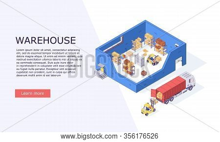 Isometric Logistic Warehouse Inventory Boxes Trucks Forklifts Cargo And Delivery Storage Banner Vect