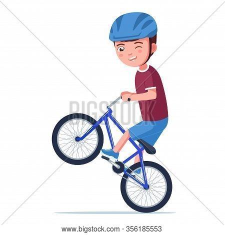 Boy Rides A Bmx Bike On The Rear Wheel. Vector Illustration Cartoon Character Little Kid With Helmet