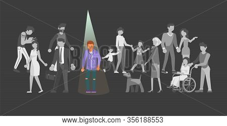 Gray Crowds Of Identical People Are Going. Illuminat Spotlight On One Individual Male Person. Metaph