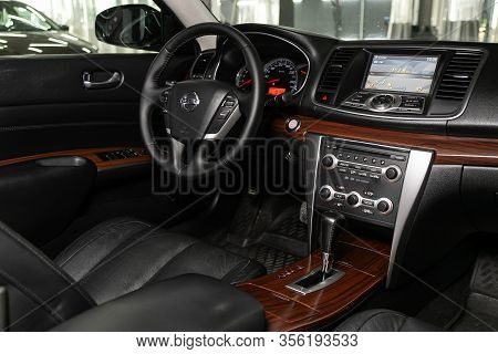 Novosibirsk, Russia - March 07, 2020: Nissan Teana,  - Steering Wheel, Shift Lever, Multimedia  Syst