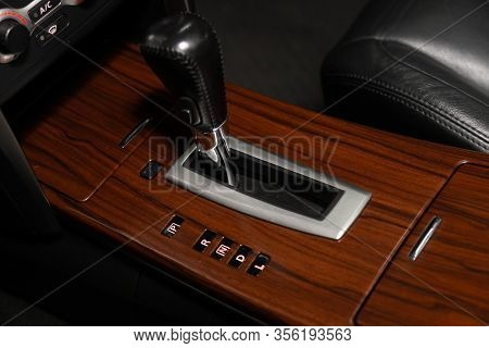 Novosibirsk, Russia - March 07, 2020: Nissan Teana,  Close Up Of The Manual Gearbox Transmission Han
