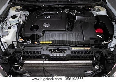 Novosibirsk, Russia - March 07, 2020: Nissan Teana, Closeup Of A Clean Motor Block, . Internal Combu