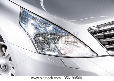 Novosibirsk, Russia - March 07, 2020: Nissan Teana, Detail Silver Light Close Up Of On New Car. Exte