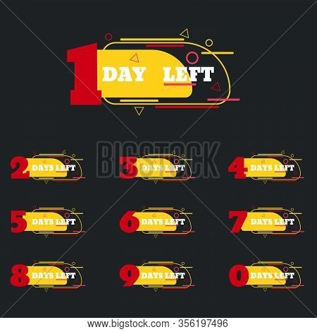 Red Yellow Set Of Number Days Left Countdown Vector Illustration Eps 10 Template