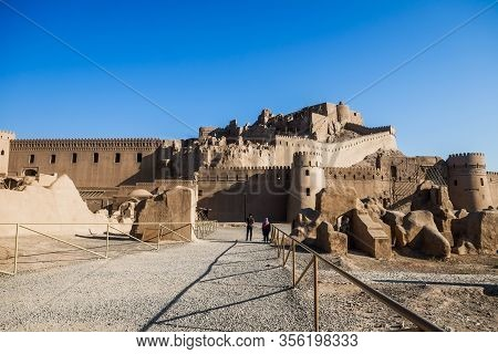 Landscape View Of The World's Largest Adobe Arg E Bam, Ruin And Ancient Persian Historical Site. Fam
