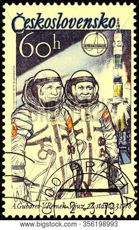 Moscow, Russia - March 17, 2020: Stamp Printed In Czechoslovakia Shows Russian Cosmonaut Aleksei Gub
