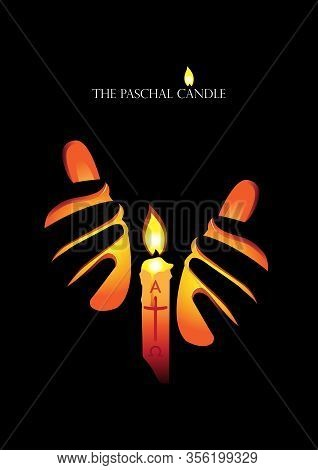 An Illustration Of Paschal Candle A Symbol Of Jesus, The Light Of The World, Who Rose From The Dead