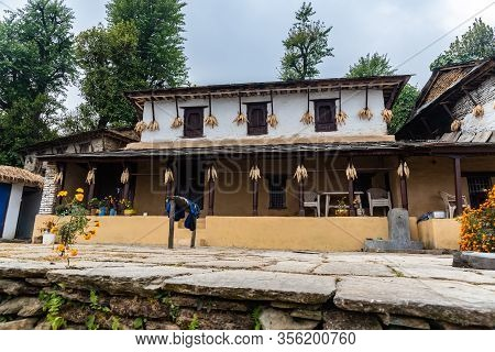 Beautiful Gurung Village House At Ghandruk Pokhara Region Nepal
