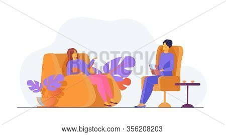 Woman Visiting Psychologist Office. Patient Sitting In Armchair And Talking To Psychiatrist. Vector