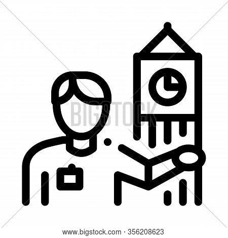 Guide Near Big Ben Icon Vector. Outline Guide Near Big Ben Sign. Isolated Contour Symbol Illustratio