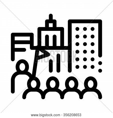 Tour Group On Excursions Icon Vector. Outline Tour Group On Excursions Sign. Isolated Contour Symbol