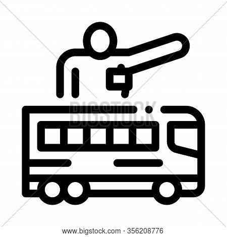 Bus Guide Icon Vector. Outline Bus Guide Sign. Isolated Contour Symbol Illustration
