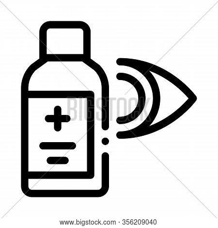 Glaucoma Medicine Vial Icon Vector. Outline Glaucoma Medicine Vial Sign. Isolated Contour Symbol Ill