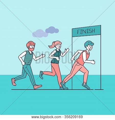 Group Of Sportsmen Running Marathon Vector Illustration. Sprinters Crossing Finish Line, Sport-joggi