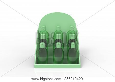 Set Of Clear Hand Sanitizer In A Clear Bottle Isolated On A White Background. Hand Sanitizer Is Used