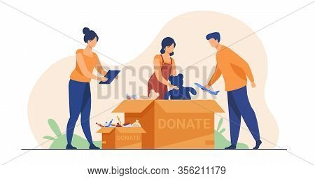 Volunteers Packing Donation Boxes. People Donating Toys, Foods, Sweets. Vector Illustration For Char