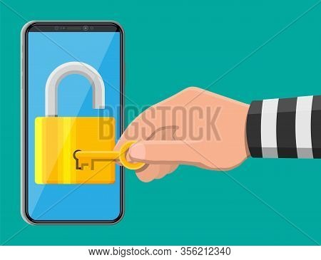 Thief Or Hacker Hand Use Key To Open Smartphone. Hack, Cyber Security Network Concept. Phone With Pa
