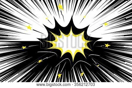 Colorful Speed Lines Background. Cloud For Explosion. Effect Motion Lines For Comic Book And Manga.