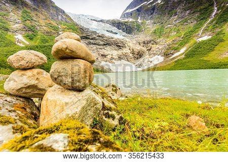 Boyabreen Glacier And Lake Landscape In Fjaerland Area, Sogndal Municipality In Sogn Og Fjordane Cou