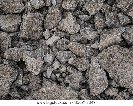 Rough Crushed Stones Fragments Texture Background, Rough Destroyed Stones Background Scattered Stone