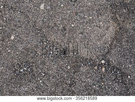 Rough Road With Small Stones Texture, Old Concrete Road Surface