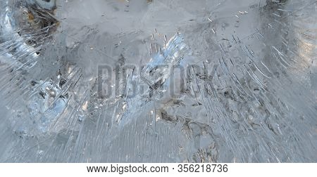 Frosted Water, Frozen Bubbles, Cold Texture, Icy Cold Surface