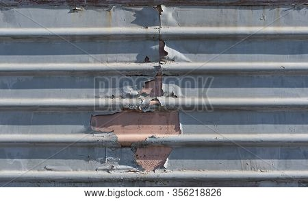 Metal Fence With Damage, Metal Sheet With Horizontal Lines, Train Old Metal Sheet