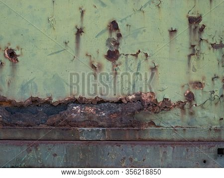 Rusty Green Train Metal, Old Rusty Metal With Corrosion