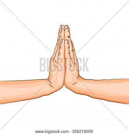Namaste Mudra - Gesture In Yoga Fingers. Symbol In Buddhism Or Hinduism. Yoga Technique For Meditati