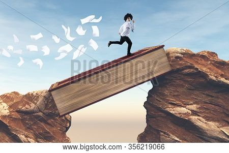 Student Running Over A Gap Between Mountains On A Book . Overcome Any Obstacle .